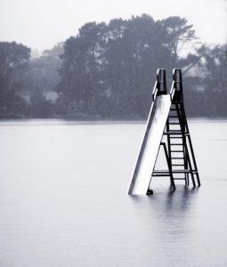 Flooded park slide