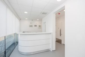 Comfortable and inviting reception area at Facemed