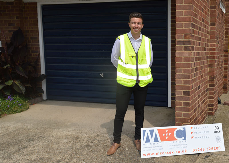 Michael Smith, Munday + Cramer's new Chartered Surveying Degree Apprentice attending his first site visit.
