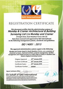 Munday + Cramer has achieved ISO Certification to ISO 14001:2015