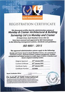 Munday + Cramer has achieved ISO Certification to ISO 9001:2015